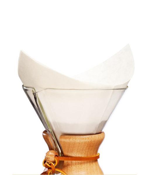 FIltro colocado no método de preparo chemex