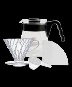 Kit Hario com suporte, cafeteira, filtro e medidor de café.
