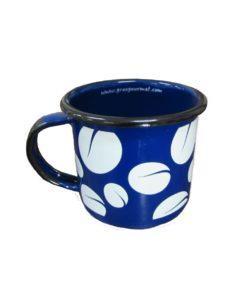 Caneca esmaltada azul grãos