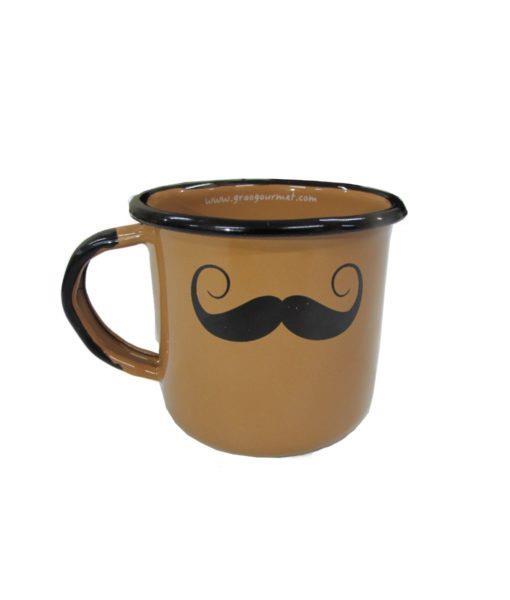 Caneca esmaltada marrom bigode