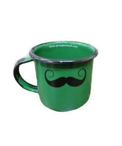 Caneca esmaltada verde bigode