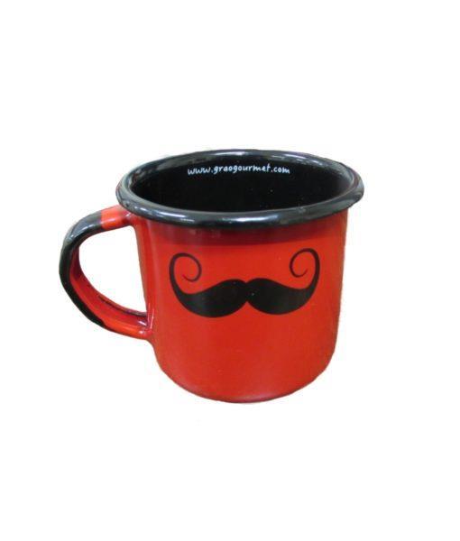 Caneca esmaltada vermelha bigode
