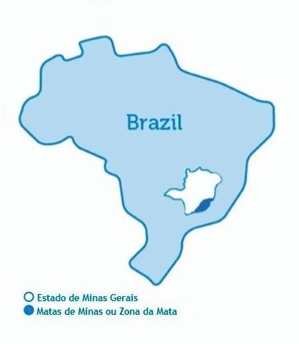 Mapa da região de Matas de Minas