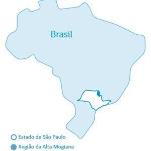 Mapa da região da Alta Mogiana no nordeste de São Paulo