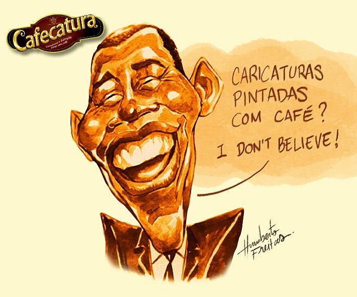 pintura com café Obama Humberto