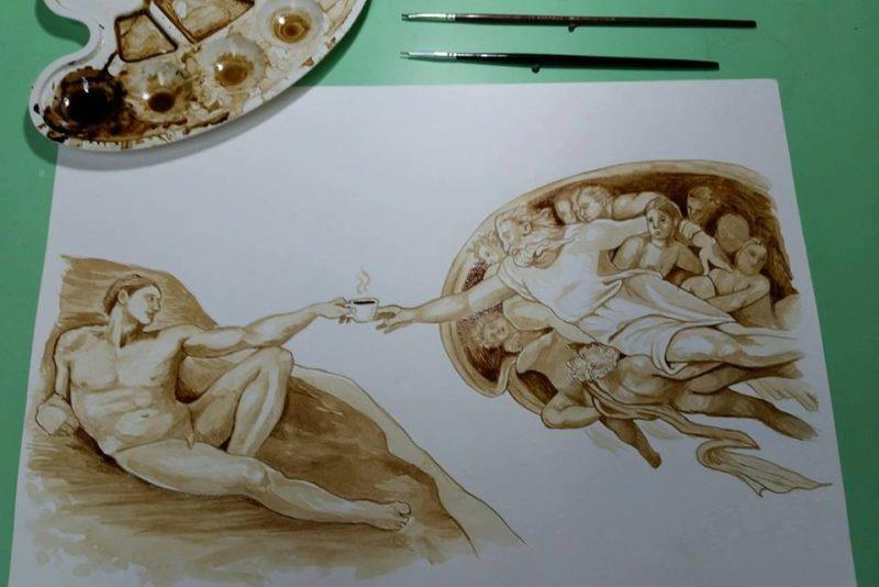 pintura com café Mich Luis Paulo