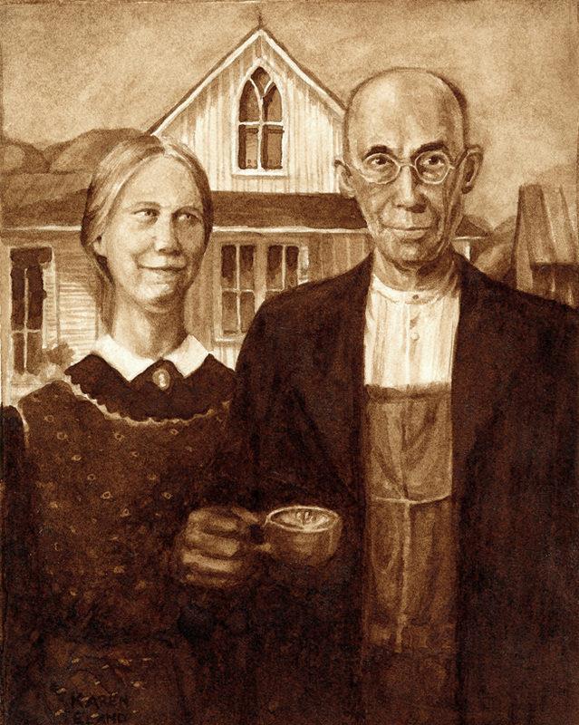 pintura com café Karen Eland 1