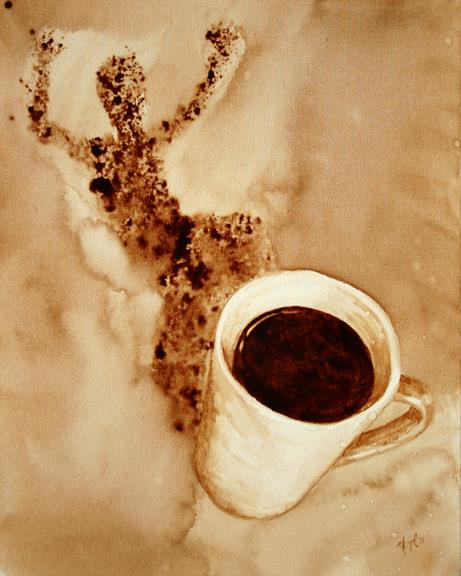 pintura com café Coffee Art 3