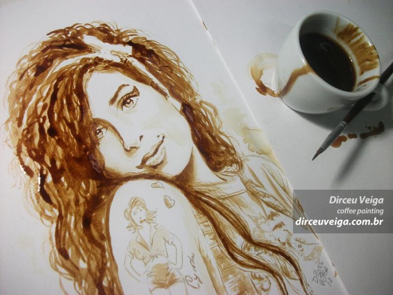 ilustração Amy com café Dirceu Veiga