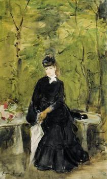 imagem Jovem senhora sentada em um banco