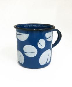 imagem caneca esmaltada azul grãos