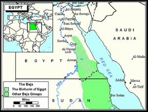Mapa tribos Beja Egito