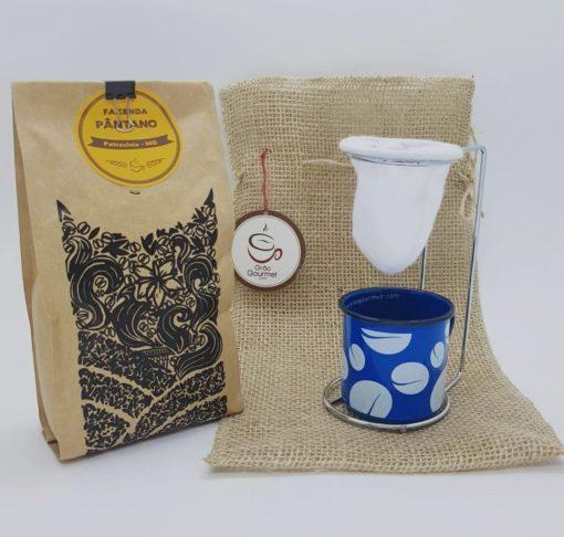 juta cafe coador caneca azul 3