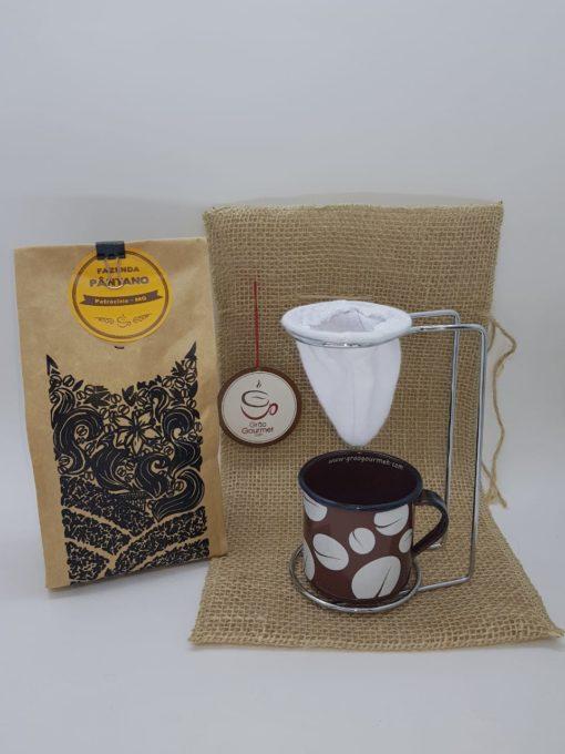 cafe pantano saco de juta caneca marrom